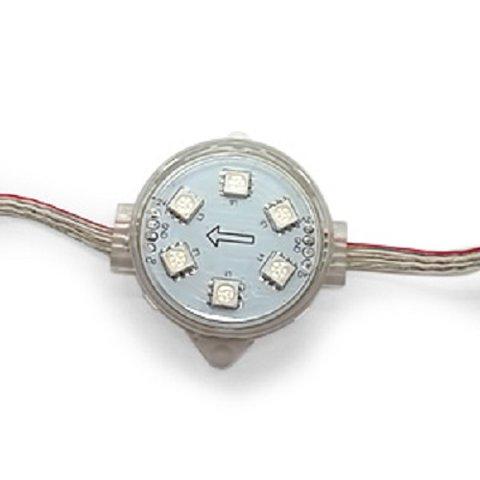 Комплект круглих LED модулів повноколірні, 6 світлодіодів SMD5050, 40 мм, IP67, 20 шт.